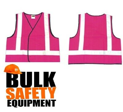 Pink Hi Vis Safety Vest Taped Aust Standards