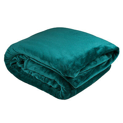 NEW Microplush Blanket Queen Size Teal Green  Soft Warm Washable
