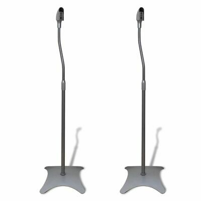 #bNew High Quality Universal Sound Floor Speaker Stand Rack Silver 2 pcs