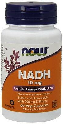 NADH 10mg x 60 capsules - PANMOL NADH by Now Foods