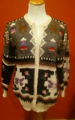 100% Alpaca Button Up Cardigan Sweater Made In Peru Multi Color Large