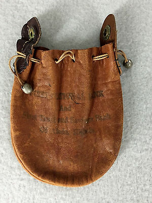Antique Vintage Leather Money Pouch Drawstring First National Bank Aledo