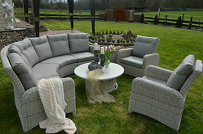 exclusive essgruppe sitzgruppe gartenm bel terrassen m bel lounge rund rattan eur. Black Bedroom Furniture Sets. Home Design Ideas