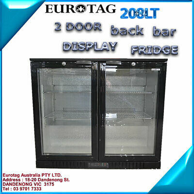 EUROTAG 208LT 2 DOOR UNDER BENCH BACK BAR DISPLAY FRIDGE 1 Years Warranty
