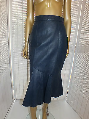 Vintage 80S LEATHER FISHTAIL Pencil High Waist MIDI Dress SKIRT 12 S