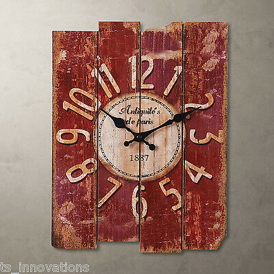 Vintage Rustic French Country Style Rose Red Wall Clock Kitchen Shabby Chic UK