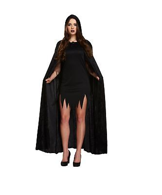 Halloween Black Adult Velvet Cape With Hood Fancy Dress Accessory