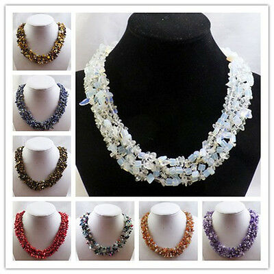 Beautiful Mixed Gemstone Chips necklace 17.5 inch xll269