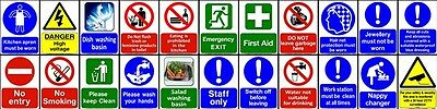 Health Safety Kitchen Hazard Set CCTV Mandatory Warning Sticker Sign Adhesive