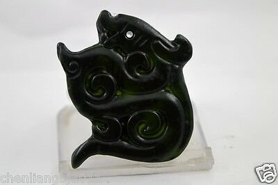 100% China's natural jade nephrite carving black jade pendant Dragon 108