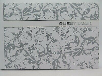 Ozcorp Guest Book 250 x 160mm Silver Line Work 64P Hard Cover GBK02*