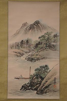 Japanese Wall Hanging Scroll Mountain Landscape Fisherman Pier Dock Vintage 46""