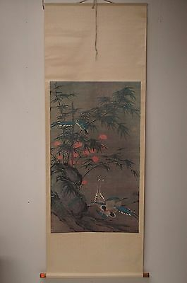Japanese Silk Wall Hanging Scroll  Birds Bamboo Scene Magpies Artwork Print 75""