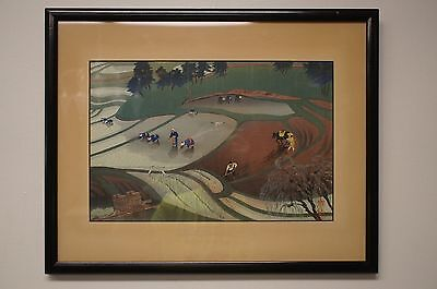 Stunning Signed Oriental Japanese Rice Farm Watercolor Painting Fields Landscape