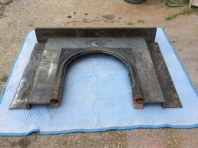 vintage salvaged slate and cast iron fireplace mantle