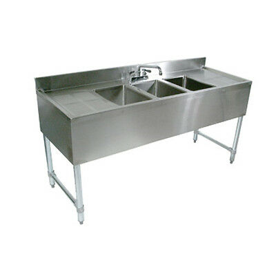 "John Boos EUB4S84-2D Underbar Four Compartment Sink w/ Two 19"" Drainboards"