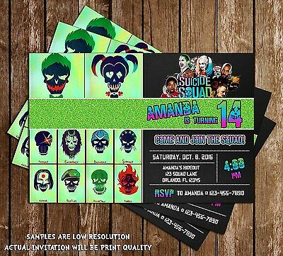 Suicide Squad - Joker & Harley - Birthday Invitations - 15 Printed W/envelopes