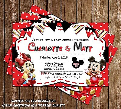 Mickey Minnie Mouse Baby Shower Thank You Cards 15 Printed W