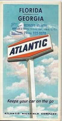 1966 ATLANTIC RICHFIELD Red Ball Tampa Gas Station Road Map FLORIDA GEORGIA Rome