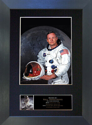 NEIL ARMSTRONG Signed Mounted Autograph Photo Prints A4 496