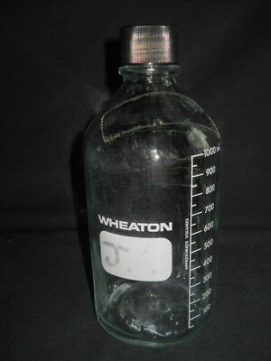 Wheaton Glass 1000mL Indented Graduated Media Bottle with 38-430 Screw Cap