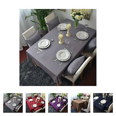 Elegant Pure Color Cotton Tablecloth Dinning Table Cloth Cover Party Home Decor