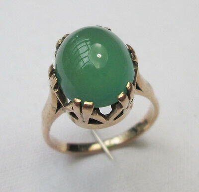Vintage 9ct Gold Oval Cut Green Chalcedony Cabochon Dress Cocktail Ring Size K
