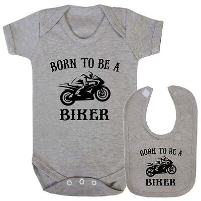 Bib Baby Grow - Born to be Biker Gift Funny Christening Shower Boy Girl Vest