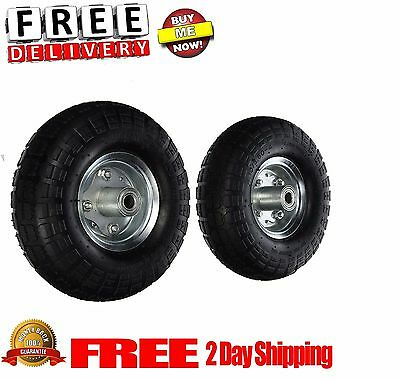 "2 AIR Tires 10"" Air wheels Replacement Tires For Dolly Cart Wheels hub 5/8"" New"