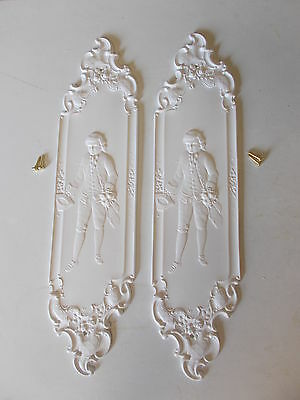 Ornate French Decorative White Door Finger Plates Resin With Screws