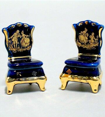 Limoges fine china cobalt blue porcelain pair of miniature Chairs collectable