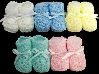 Baby Goods: Knitted Booties - Newborn Size - Asstd Colors 12 Pairs Lot( E00215)