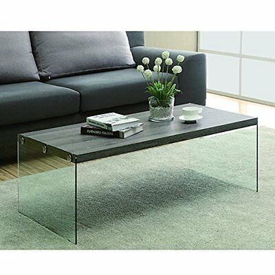 Monarch I 3054 taupe wood, tempered glass base coffee table, 44""