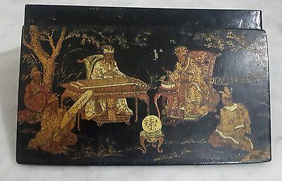 Antique And Rare Case Box Chinese Made In Paper Mache With Drawings In Gold