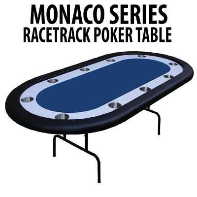 Monaco Series Blue Folding Poker Table with White Racetrack