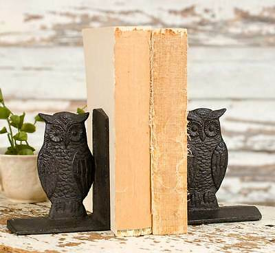 Antique Vintage Pair of Decorative Owl Bookends Cast Iron Bookend Case Library
