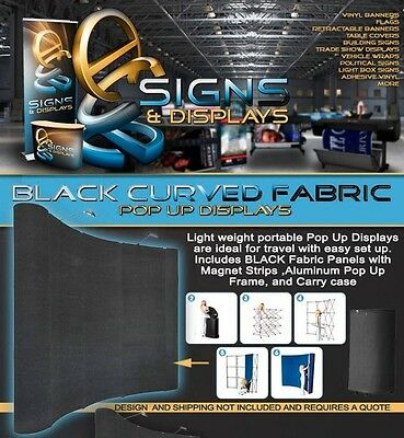 Curved BLACK Fabric Pop Up Trade Show Display with Carry case
