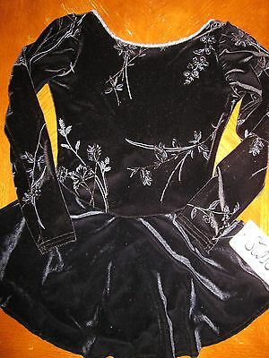 Adult Stars Long Sleeve V-Back Black Shimmer Velvet Dance / Figure Skater Dress