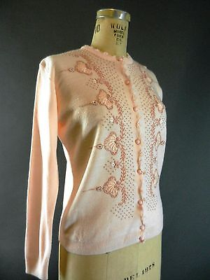 Vintage 1950s 50s Crewel Work Embroidered Pink Cardigan Sweater M L