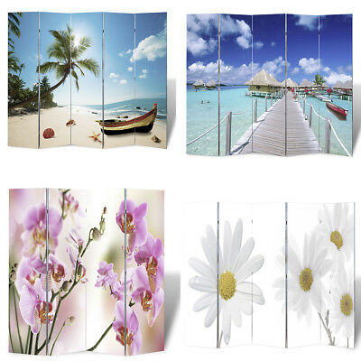 #bNEW Room Divider Print Beach / Flower Wood Frame Foldable 4 Sizes Selectable
