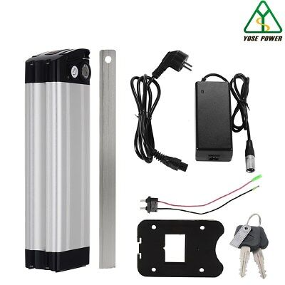 36v15.6ah Lithium Ion Battery E-Bike Cycle Lockable Silver fish+Charger with USB