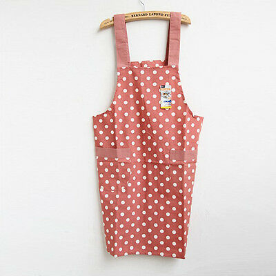 Kitchen Cooking Cotton Apron Shoulder-strap Style with 2 Pockets Apron for Women
