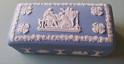 Wedgwood Jasperware Blue & White Match or Trinket Box - 1970's