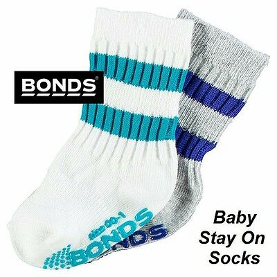 NWT Bonds  2 PACK BABY STAY ON SOCKS Grip Sole White Grey Blue Aqua Size 00-2