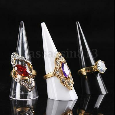 Acrylic Finger Cone Fingertip Ring Stand Jewellery Display Holder Storage
