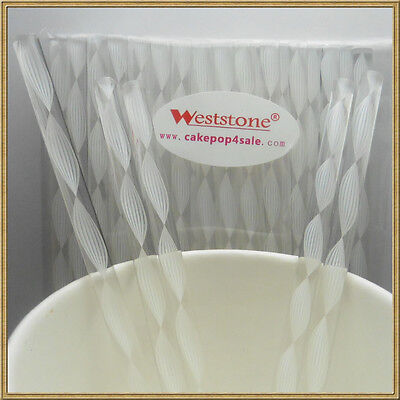 Heavy duty White Swirl - 40pcs 6 in x 7/32 Acrylic Sticks For Cake Pops or Candy