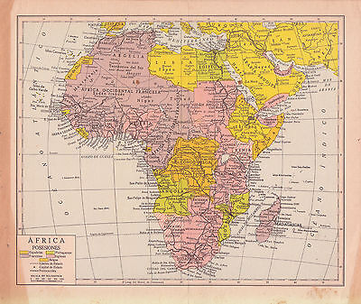 1954 Antique Map of Africa