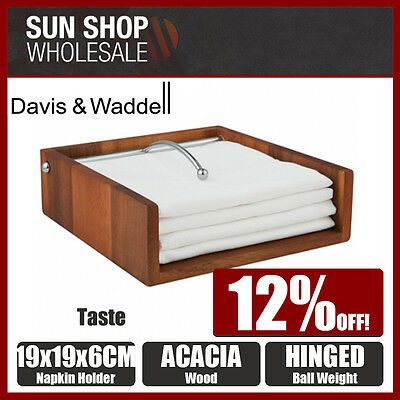100% Genuine! DAVIS & WADDELL Taste Acacia Wood Napkin Holder! RRP $33.99!