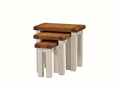 Alba Oak Nest of Tables Set of 3 Finish : Oak / Painted Stone White Finish