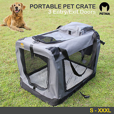 Pet Soft Crate Portable Dog Cat Carrier Travel Cage Kennel Foldable Large S-XXXL